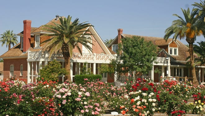 This 17-acre property is home to 13 original buildings, a rose garden, a barnyard and historic orchards. Citrus, figs, date palms, olives, apricots, peaches, pecans, and grapes grow on the grounds, and peacocks, chickens and other small animals sometimes roam the area. It's listed on the National Register of Historical Places and offers activities, exhibits, guided tours and more..