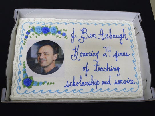 """Cake was served after Ben Arbaugh's """"Last Lecture"""" on Thursday."""