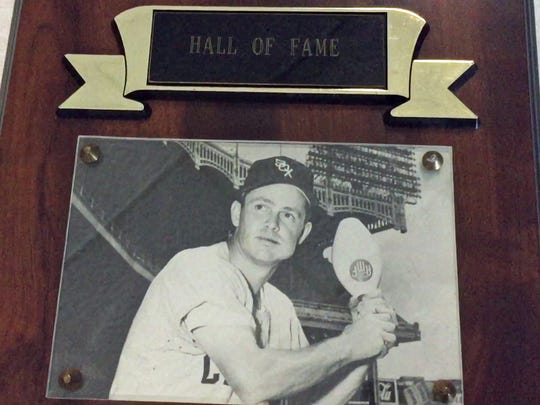 Nellie Fox Bowl owner Rudy Goetz has a plaque in the business that features original owner and baseball hall of Famer, Nellie Fox.