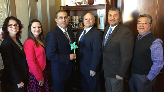 The Children's Advocacy Center of the Coastal Bend Treasurer Gloria Guzman, Executive Director Clarissa Mora, State Rep. Abel Herrero D-Robstown, President-Elect Eduardo Gomez, Board President Joe Benavides and Secretary Benjamin Morin during CACTX Day Jan. 31 at the state capitol.