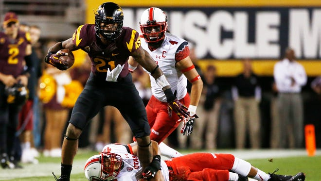 Arizona State's Jaelen Strong runs against Utah on Saturday, Nov. 1, 2014 at Sun Devil Stadium in Tempe, AZ.