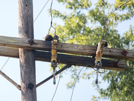 Damage to an electrical pole caused a brief power outage in Hanover Borough.