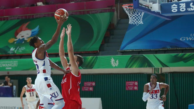FGCU's Julian DeBose drives to the basket for two of his team-high 18 points in Team USA's 96-57 defeat of Switzerland on Wednesday in the World University Games in South Korea.