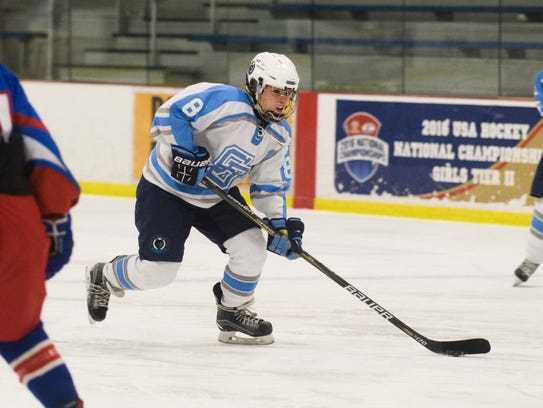 South Burlington's Claire Wright (8) skates with the
