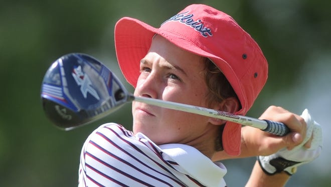 Abilene's Karson Grigsby, 13, watches his tee shot from 9, which was his final hole during the first round of the American Junior Golf Association's Folds of Honor Junior Championship hosted by Bob Estes on Tuesday, July 18, 2017 at Abilene Country Club's Club Course. Grigsby shot 7-over-par 77 to tie seven others for 81st.