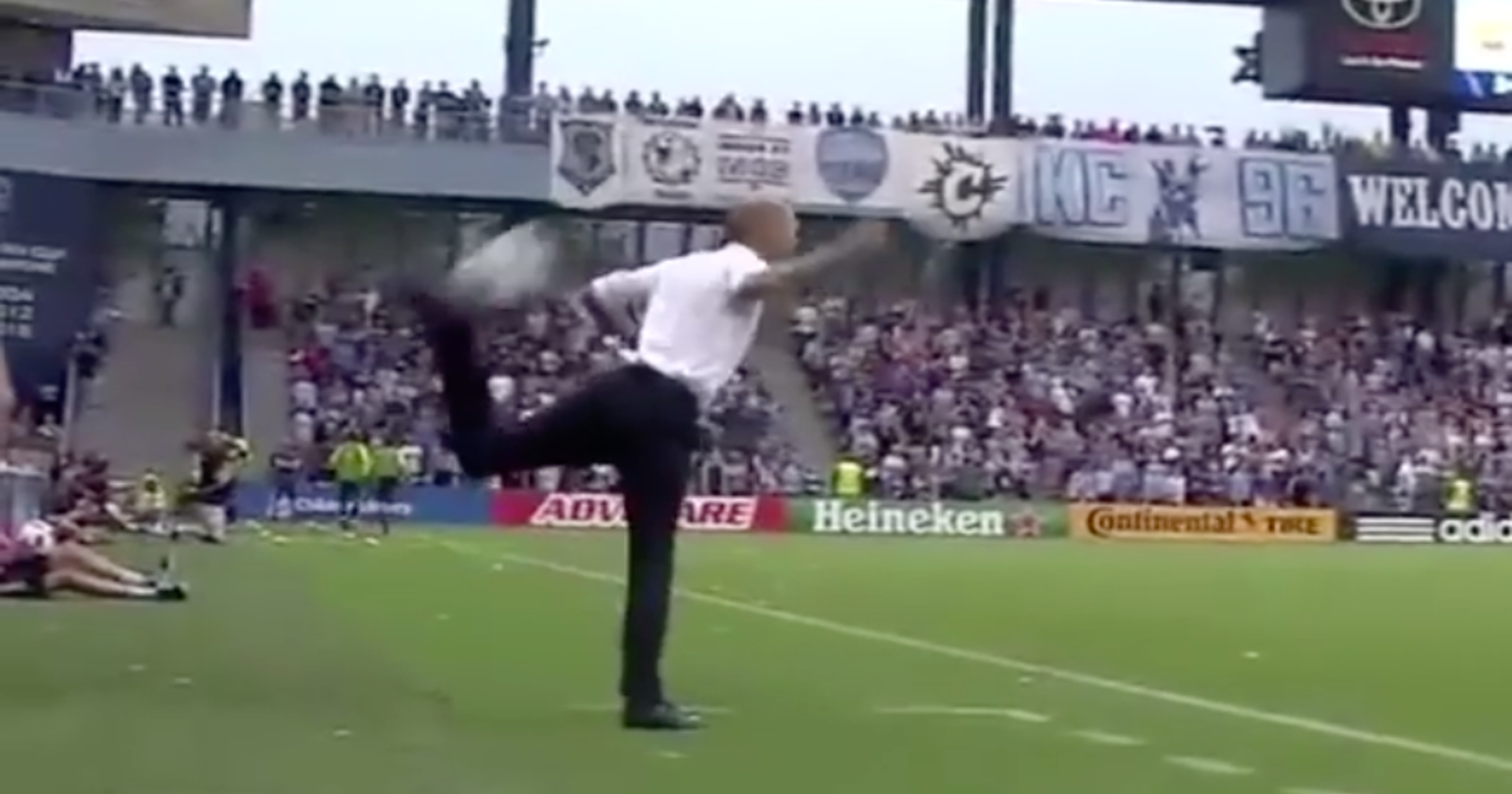 692e0849f88d As cool as it sounds  Coach does scorpion kick on sideline of MLS game