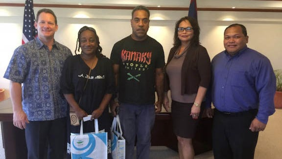 A delegation from the South Pacific island of New Caledonia is in Guam this week to assist with preparations for the 2016 Festival of the Pacific Arts. From left: Acting Gov. Ray Tenorio; Leila Bouchet, a member of the New Caledonia Delegation Committee; Caril Beronon, also a member of the New Caledonia Delegation Committee; Rose Ramsey, festival director; and Mark Mendiola, vice chairman of the FestPac Coordinating Committee.