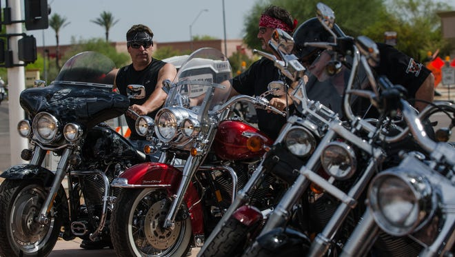 Motorcycle enthusiasts attend the Bike Week Blast-Off Party.