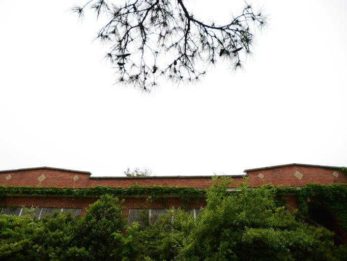 The former Willis Wharf School next to Occohannock Elementary School will be demolished. Portions of the building are collapsing and the majority is overgrown with vegetation.