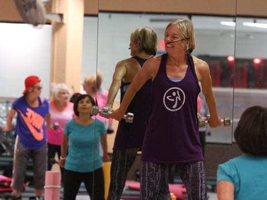 Patty Megill of Eatontown teaches a sculpting exercise class at Shore Fit Club and Spa in Oakhurst, NJ Monday October 19, 2015.