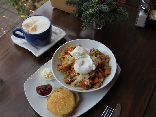 Butternut squash and apple hash is served at Gather in Silverton. The hash is served with a house-made English muffin.