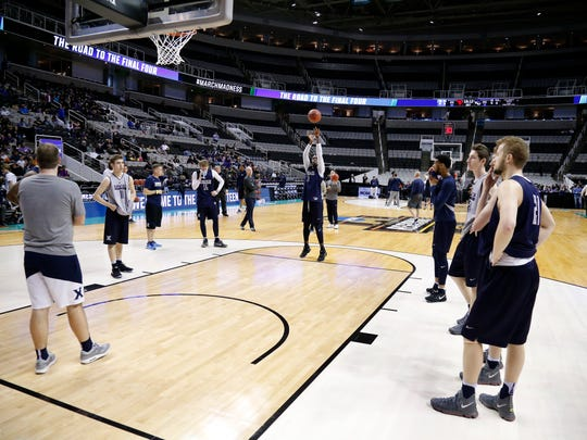 Xavier Musketeers guard Malcolm Bernard (11) shoots free throws with his team during a practice session ahead of the NCAA Tournament Sweet 16 matchup between the Xavier Musketeers and the Arizona Wildcats at the SAP Center in San Jose, Calif., on Wednesday, March 22, 2017.
