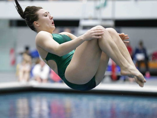 Northridge's Sarah Troyer dives during the IHSAA girls