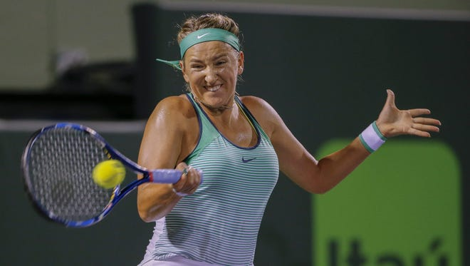 Victoria Azarenka of Belarus in action against Angelique Kerber of Germany during a semifinal round match at the Miami Open.