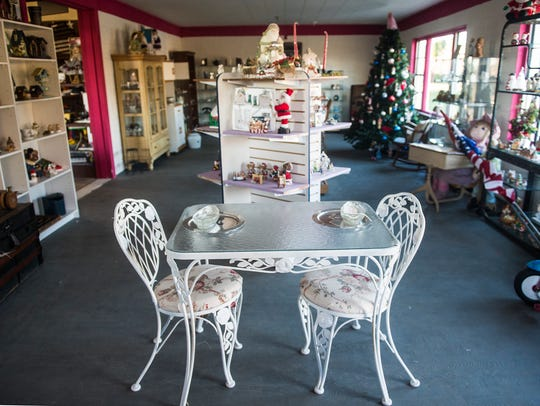 A dining set is one of the displays in the multi-room