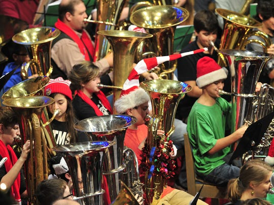 Tuba players perform at a previous Tuba Christmas at First Baptist Church in Nashville.
