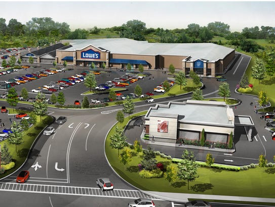 A rendering of the Lowe's and some of the other businesses