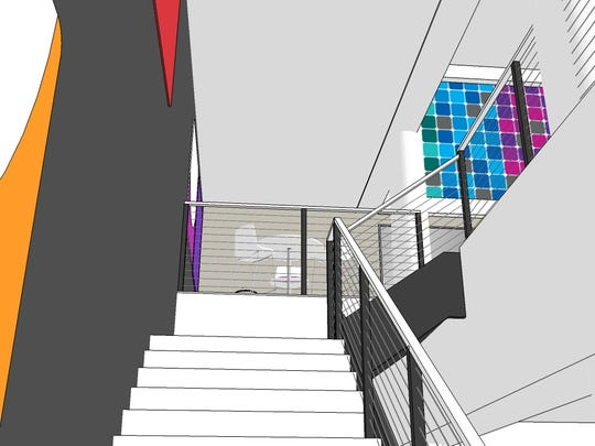 An architect's rendering of the interior of a remodeled downtown Green Bay YMCA.