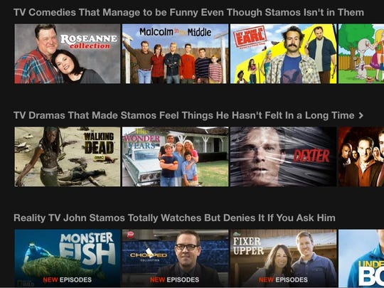 A screenshot of the Netflix menu and its Stamos-themed options.