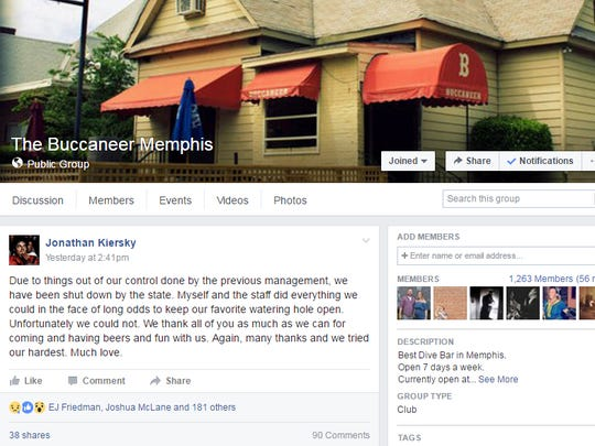 The Buccaneer Lounge announces its closing on Facebook.