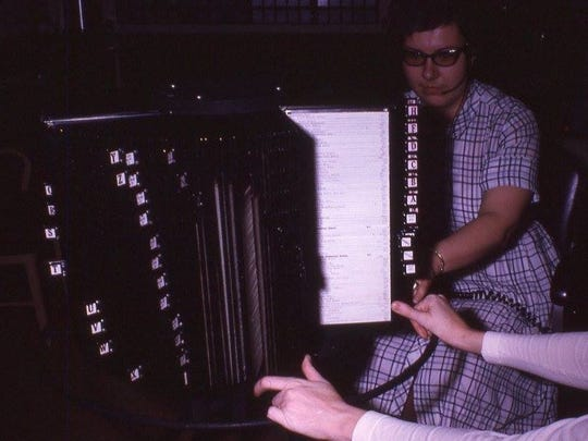 """Joanne Borgel, York County 911's Dispatcher No.1, is seen her the the """"flex file"""" she created. Before computers, this was what 911 dispatchers relied on for information about streets, businesses, residences and which fire and ambulance companies should be dispatched."""