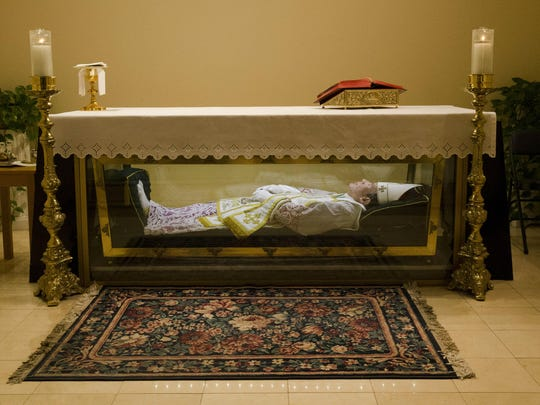 The remains of St. John Neumann are shown at the national shrines of St. John Neumann in Philadelphia.