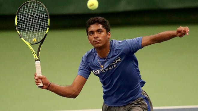 Avinash Murthy of Kohler plays at No. 2 singles against Edgewood during the WIAA Boys Tennis Team State Tournament on  Saturday in Madison.