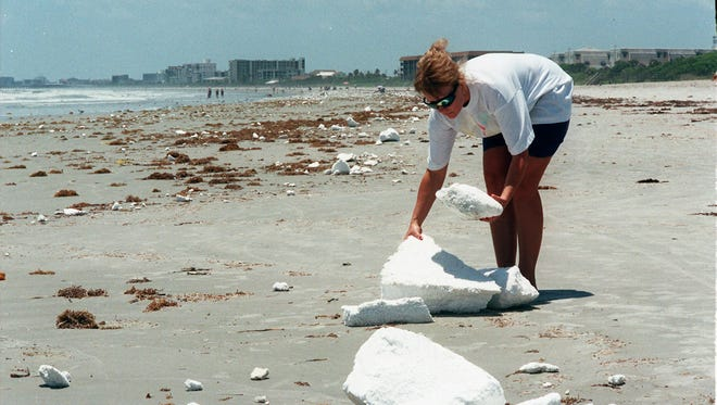 Plastic foam washes up along the beach in the cape Canaveral area.