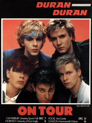 Duran Duran back in the day: clockwise from top right, Simon LeBon, Andy Taylor, Roger Taylor, John Taylor, Nick Rhodes.