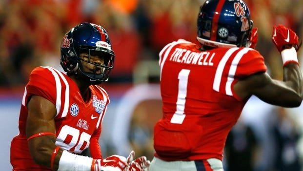 ATLANTA, GA - AUGUST 28:  Cody Core #88 of the Mississippi Rebels reacts after pulling in a touchdown reception against Boise State Broncos with Laquon Treadwell #1 at Georgia Dome on August 28, 2014 in Atlanta, Georgia.  (Photo by Kevin C. Cox/Getty Images)