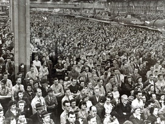 Hundreds of workers are pictured at the Republic Aviation