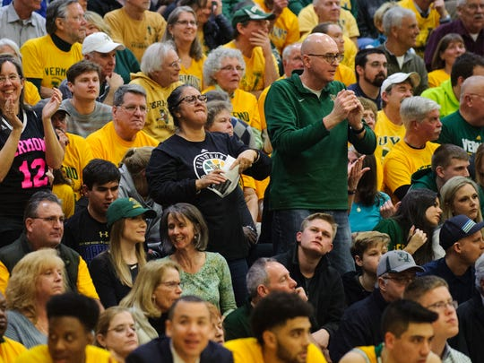 Vermont's Payton Henson's (35) parents in the crowd