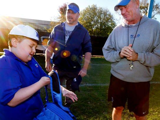 Colton Sheets visits the MTSU football team during