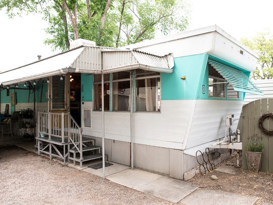 The exterior of a 1959 vintage trailer at River West Resort RV and trailer park on Second Street and Keystone.