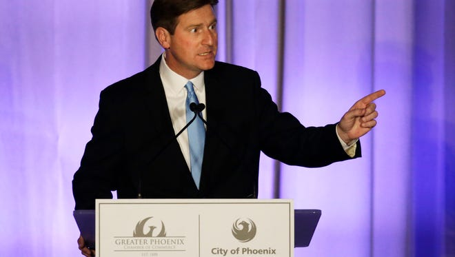 Mayor Greg Stanton delivers his fifth State of the City address at the Sheraton Grand Phoenix in Phoenix, Ariz., on Tuesday, April 19, 2016.