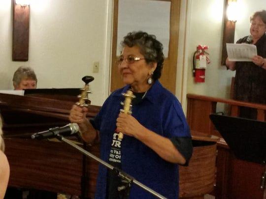 Thelma Karow plays the Paiute Bells for Singspiration at Yerington Community United Methodist Church on Sunday.