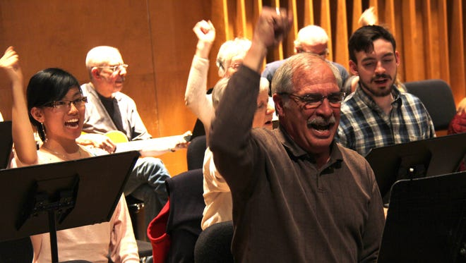 """The Intergenerational Rock Band brings some emotion to """"Fight Song"""" by Rachel Platten. From left: Lisa Luu, Drury senior music therapy major; Don Mihalevich, a community member of the ensemble; and Cody Ray, Drury junior music therapy major."""