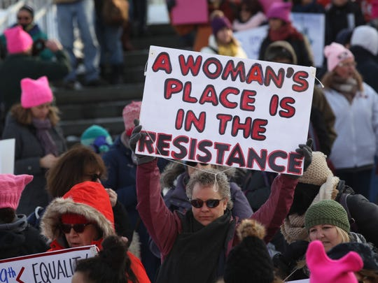 People take part in the Women's March took in Seneca Falls, N.Y.