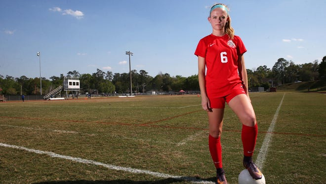 Leon junior midfielder Maddie Powell is the 2016-17 All-Big Bend Player of the Year for girls soccer for the second straight season after recording 23 goals and 11 assists as the Lions went undefeated in district for the third consecutive year.