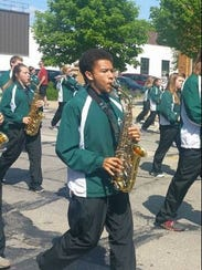 Marshall Rushton of West Allis Hale plays saxophone