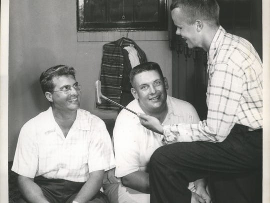 Tommy Veech (center) is shown with Jack Allen (right) and Manuel de la Torre (left) at the 1955 Wisconsin State Open at Oneida Country Club.