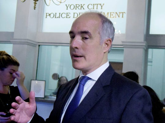 U.S. Senator Bob Casey speaks at the York City Police Department Friday, Sept. 8, 2017, about possible cuts to law enforcement budgets.Bill Kalina photo