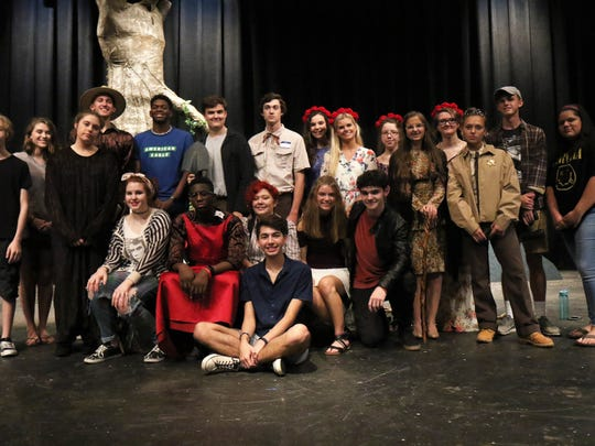 Cast and crew of USJ's 'The Branchman,' front row, sitting: Student director Harrison Hamm. Second row, sitting, from left: Lily Richardson, Chidera Nwokolo, Greta Trigony, Gabrielle Evans and Jared Koerner. Third row, standing, from left: Ethan Schlegel, Annie Short, Bailee Norris, Connor Rogers, Chinaza Nwokolo, Nick Zerfoss, Caleb Carey, Sarah Grace Callis, Madison Maroney, Emily Hailey, Lili Mahalati, Jordan Henges, Annabelle Reese, Seth Spry and Isabella Turner.