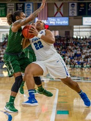FGCU's China Dow uses her strong frame to bull past foes,  but has learned to pick her spots.