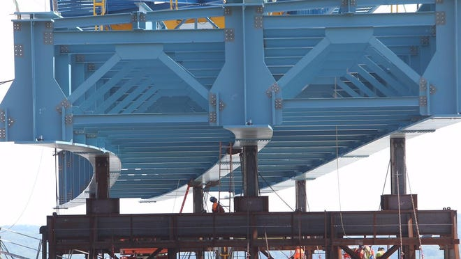 A close-up of the girder the super crane hoisted into place for the new Tappan Zee Bridge.