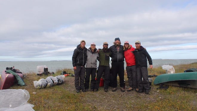 The six-man Rediscovering North America crew finished their 5,200-mile, 244-day journey Tuesday at Kugluktuk, Nunavut, Canada.