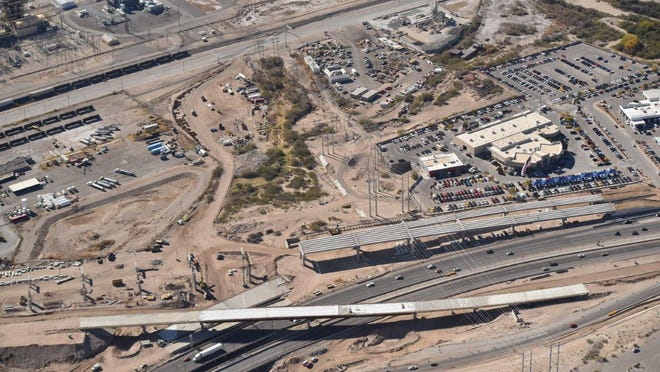 An aerial view of the Border West Expressway project.