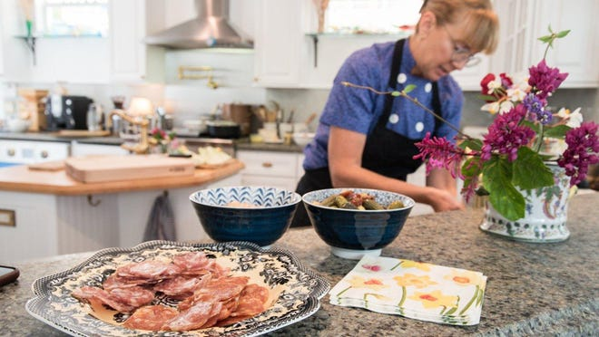 Chef Lisabet Summa prepares lunch at home in West Palm Beach.