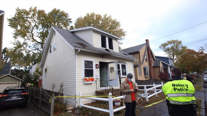 A woman died in a two-alarm fire in Quincy that broke out on Edwin Street early Tuesday morning. Joe Difazio/The Patriot Ledger