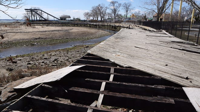 The north boardwalk at Playland in Rye on Saturday. The boardwalk was destroyed by Super Storm Sandy.
